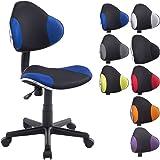 CLP Chaise de bureau moderne BASTIAN, design moderne & forme ergonomique, réglable en hauteur 39 - 51 cm, capacité de charge max. 100 kg noir/bleu