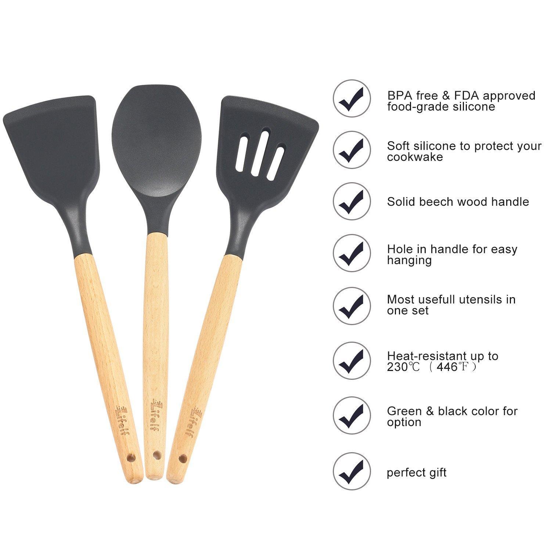 9-Piece Silicone Cooking Utensils Set, Lifelf Premium Non-Stick Heat Resistant Kitchen Utensils Set with Wooden Handles for Cooking Baking BBQ,BPA Free (Dark Gray) by Lifelf (Image #3)