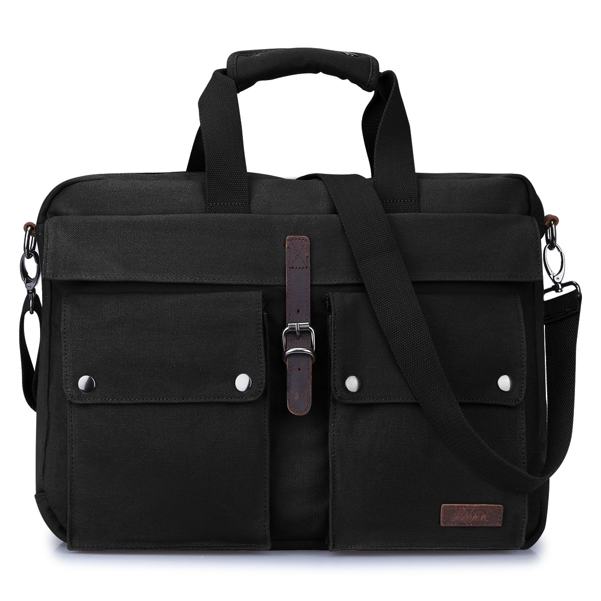 S ZONE Canvas 17 Inch Laptop Messenger Bag Multicompartment Travel Shoulder Bag Briefcase Black