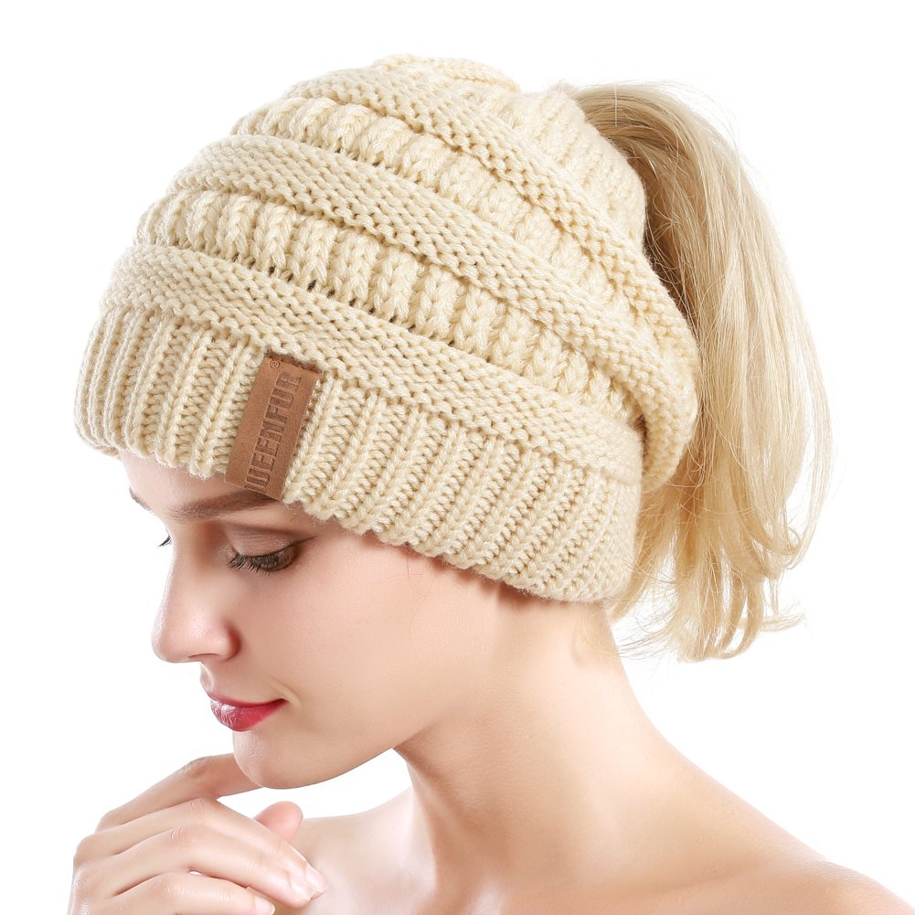 Queenfur Women Ponytail Beanie Winter Warm Stretch Cable Knit Messy High Bun Hat