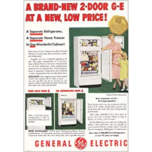 1950 General Electric Refrigerator: Brand New 2-Door G-E, General Electric Print Ad
