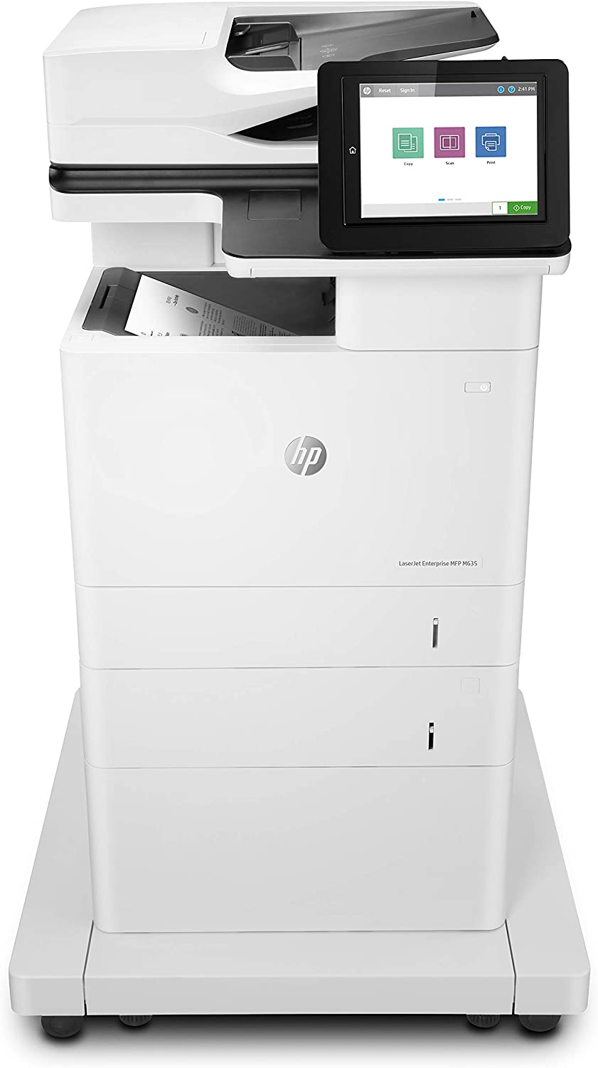 HP Laserjet Enterprise MFP M635fht Monochrome Multifunction Printer with Extra Paper Tray and Wheeled Stand (7PS98A), White (7PS98A#BGJ)