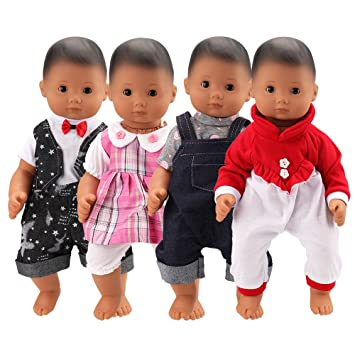 BARWA 4 Sets Doll Clothes Outfits Jumpsuits Pajamas Doll Clothes for 14 to 16 Inch Dolls