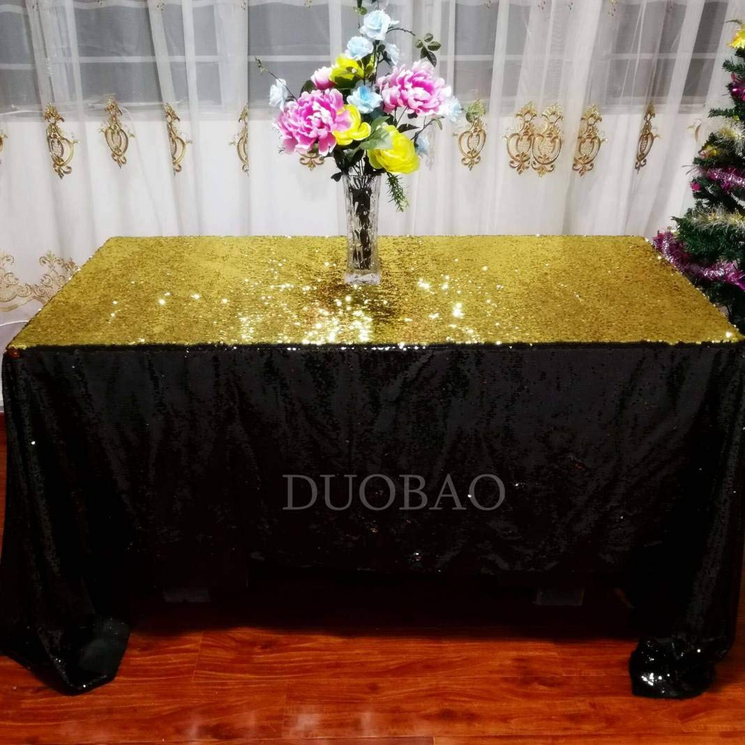 DUOBAO Sequin Tablecloth 60x84-Inch Gold Mermaid Sequin Fabric Black to Gold Glitter Tablecloth Reversible tablecloths for Rectangle Tables~0516