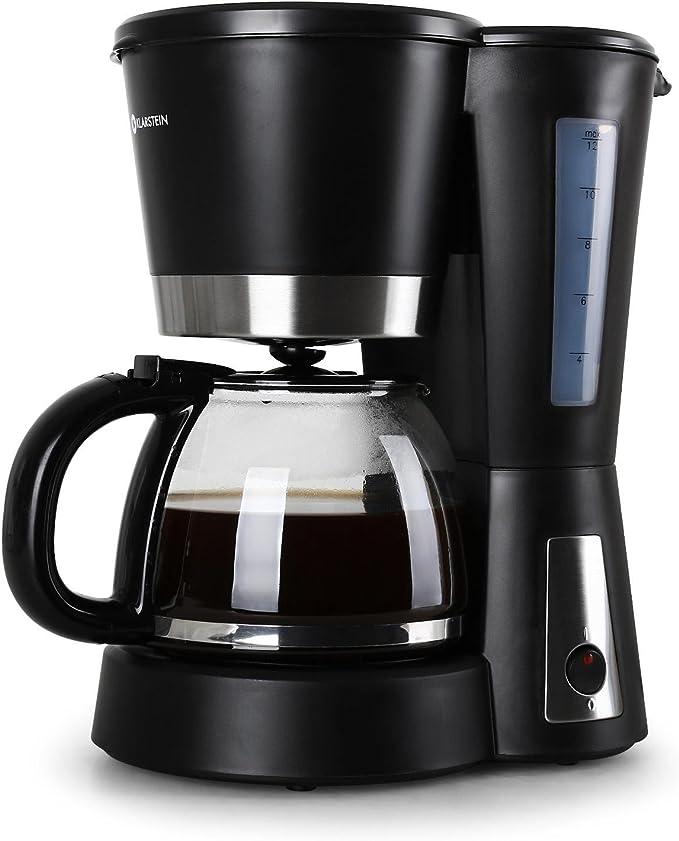 Klarstein Sunday Morning - Cafetera 900W 1,2 litros negra (carcasa cool-touch, filtro permanente, jarra de vidrio, cuchara dosificadora): Amazon.es: Hogar