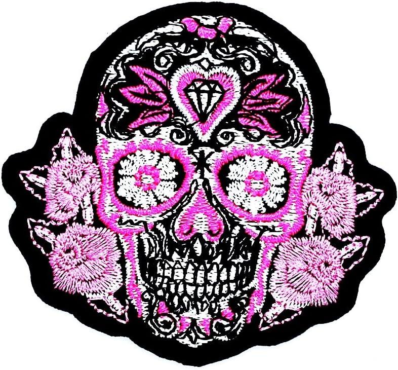 Rosa Mexicano azúcar calavera rosa Awesome Cool Motocicleta parche ideal para su Jeans, sombreros, bolsos, chaquetas y camisas de adorno.: Amazon.es: Juguetes y juegos