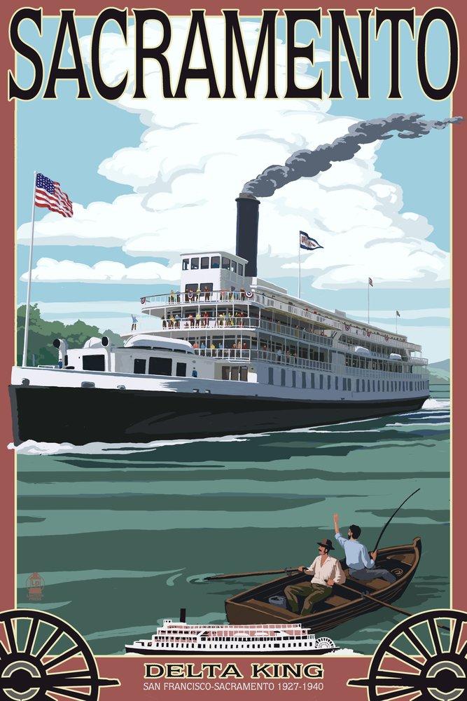 Sacramento, California - Delta King Riverboat (9x12 Art Print, Wall Decor Travel Poster)