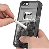 iPhone 6s Case, ZVE Multifunctional Cigarette Lighter Cover for iPhone 6/6s Built-in Cigarette Lighter/bottle Opener/ Camera Stable Tripod Case (Black)