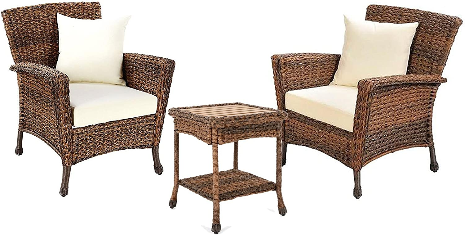 W Unlimited Rustic Collection Outdoor Furniture Light Brown Rattan Wicker Garden Patio Furniture Bistro Set, Lounger Deep Seating Sectional Cushions 3 Piece Set