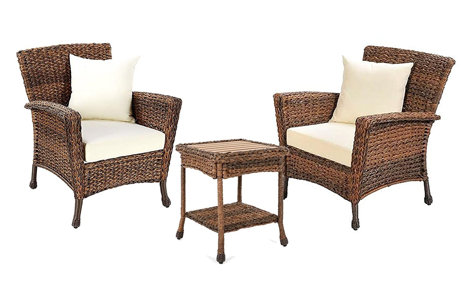 W unlimited rustic collection outdoor furniture light brown rattan wicker garden patio furniture bistro set lounger deep seating sectional cushions 3