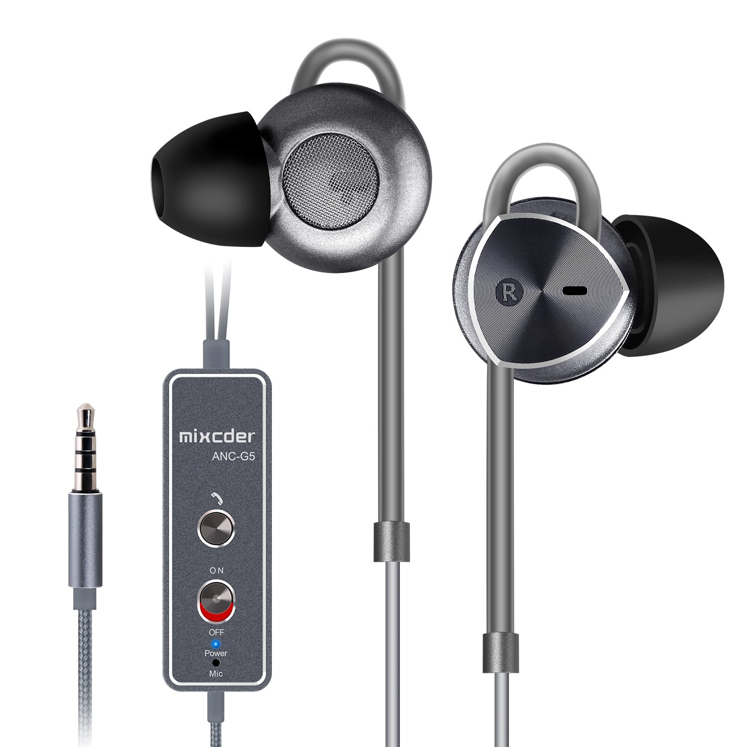 Active Noise Cancelling Headphones, Mixcder ANC-G5 Hi-Fi Stereo Sound In-ear Earbuds Hand-free Calling Hesdsets with Built-in Mic and Travel Case