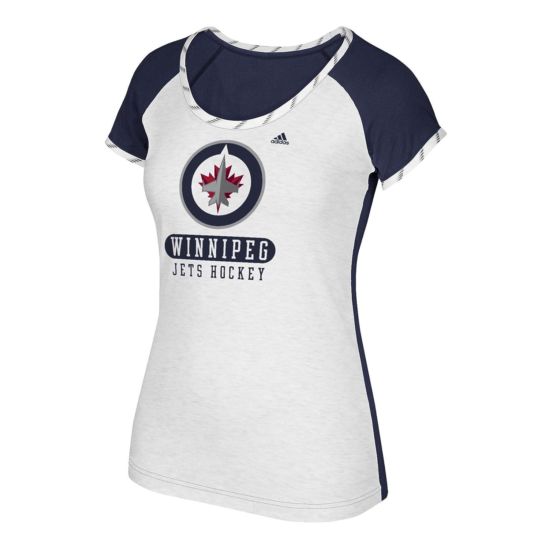 Adidas NHLレディーススケートレースS/S Tee B074TRC2YJ Large|White Heathered|Winnipeg Jets White Heathered Large