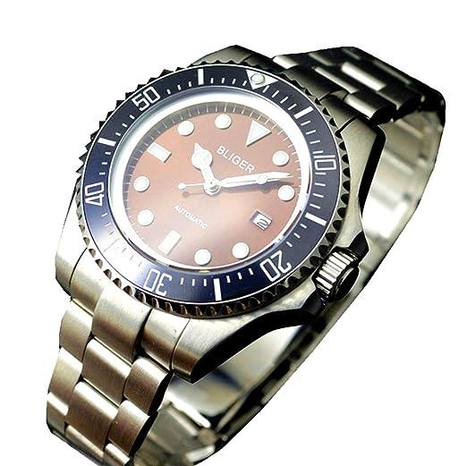 Bliger - Reloj mecánico sumergible de 47 mm, esfera marrón, reloj mecánico automático con bisel de cerámica: Amazon.es: Relojes