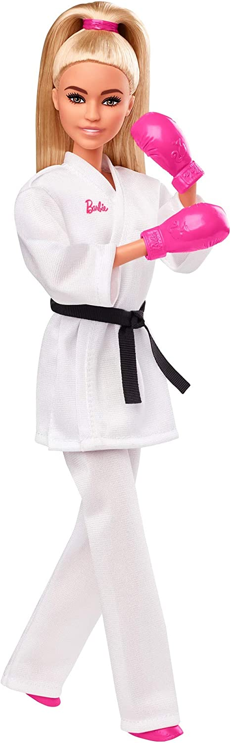 Barbie Olympic Games Tokyo 2020 Karate Doll with Karate Uniform, Tokyo 2020 Jacket, Medal, Helmet, Sparring Gloves and Sandals for Ages 3 and Up, Multi (GJL74)
