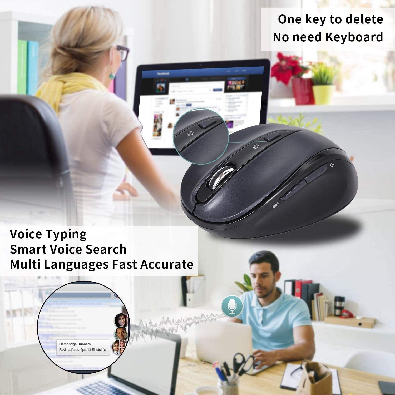 V3 Wireless Mobile Mouse adjustable Voice Typing Voice Command Long Range Wireless Mouse For Notebook Tablet Value-5-Star