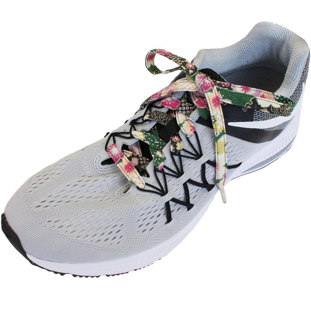 Japanese Chirimen Shoelaces for Sneakers 117cm 46inch (Green) by Cocoluck (Image #4)