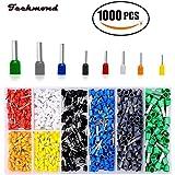 Teckmond Crimpzange Kabelschuhe Set Kabel Steckverbinder Mit 8 Farben Elektrische Verzinnte Aderend-Isolierhülsen für Anschlussdosen Kabel, 1000 Pcs AWG 24-10