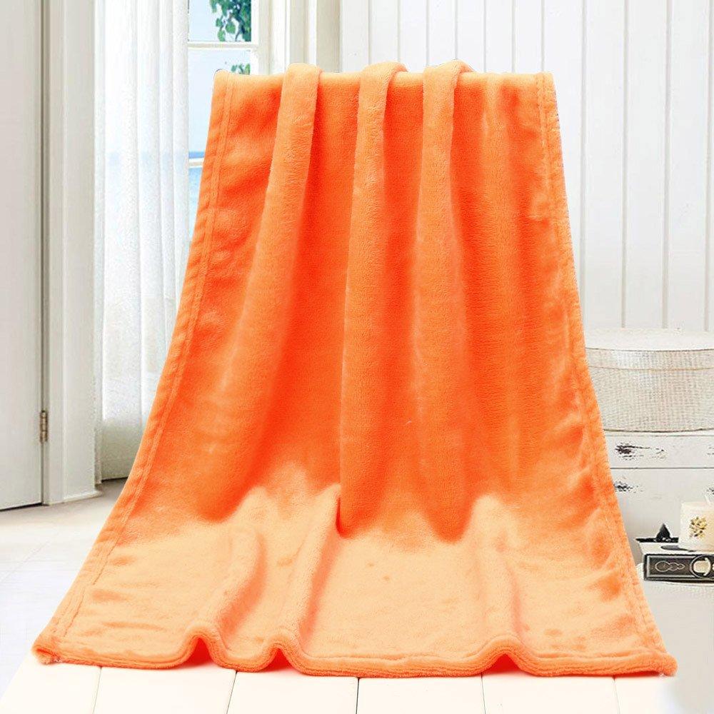 Flannel Fleece Throw Blanket Warm Fuzzy Lightweight Fleece Blankets 45X65CM Soft Throw Blanket for Couch Bedding Sofa Kids Blanket (Orange)