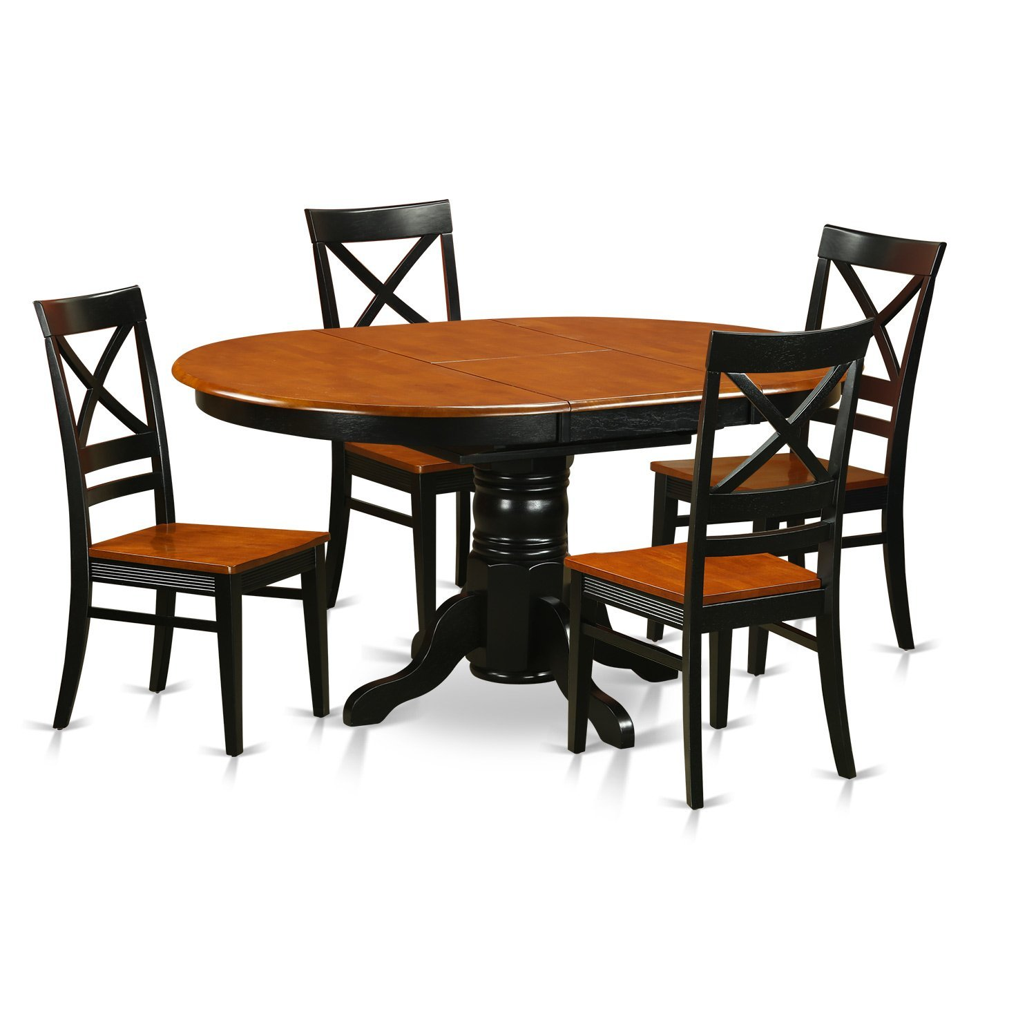 East West Furniture AVQU5-BCH-W 5 Piece with 4 Wood Chairs Avon Dining Set