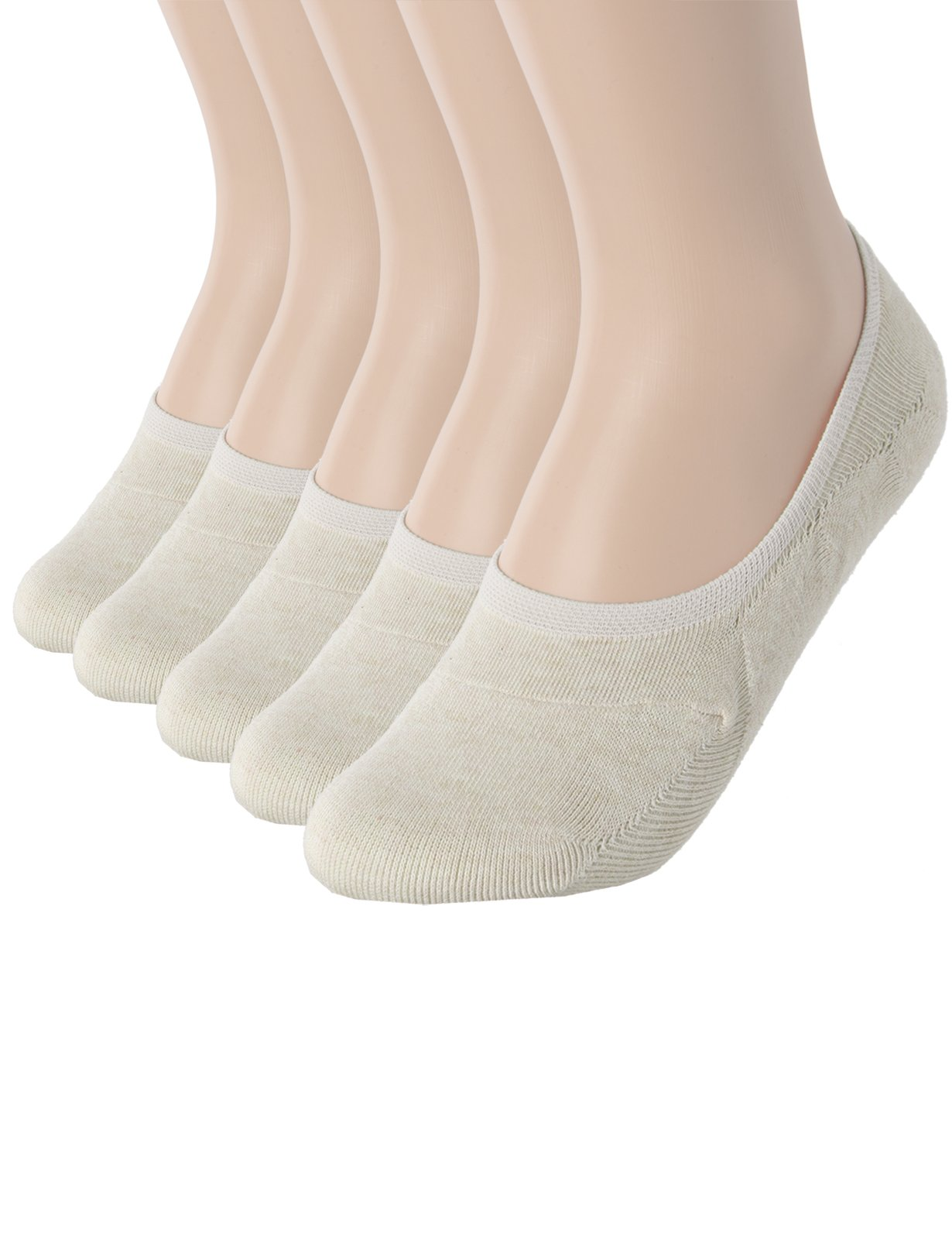 OSABASA Womens Casual No-Show 5Pairs Socks of Hidden Flat Boat Line BEIGE (SET5KWMS058)