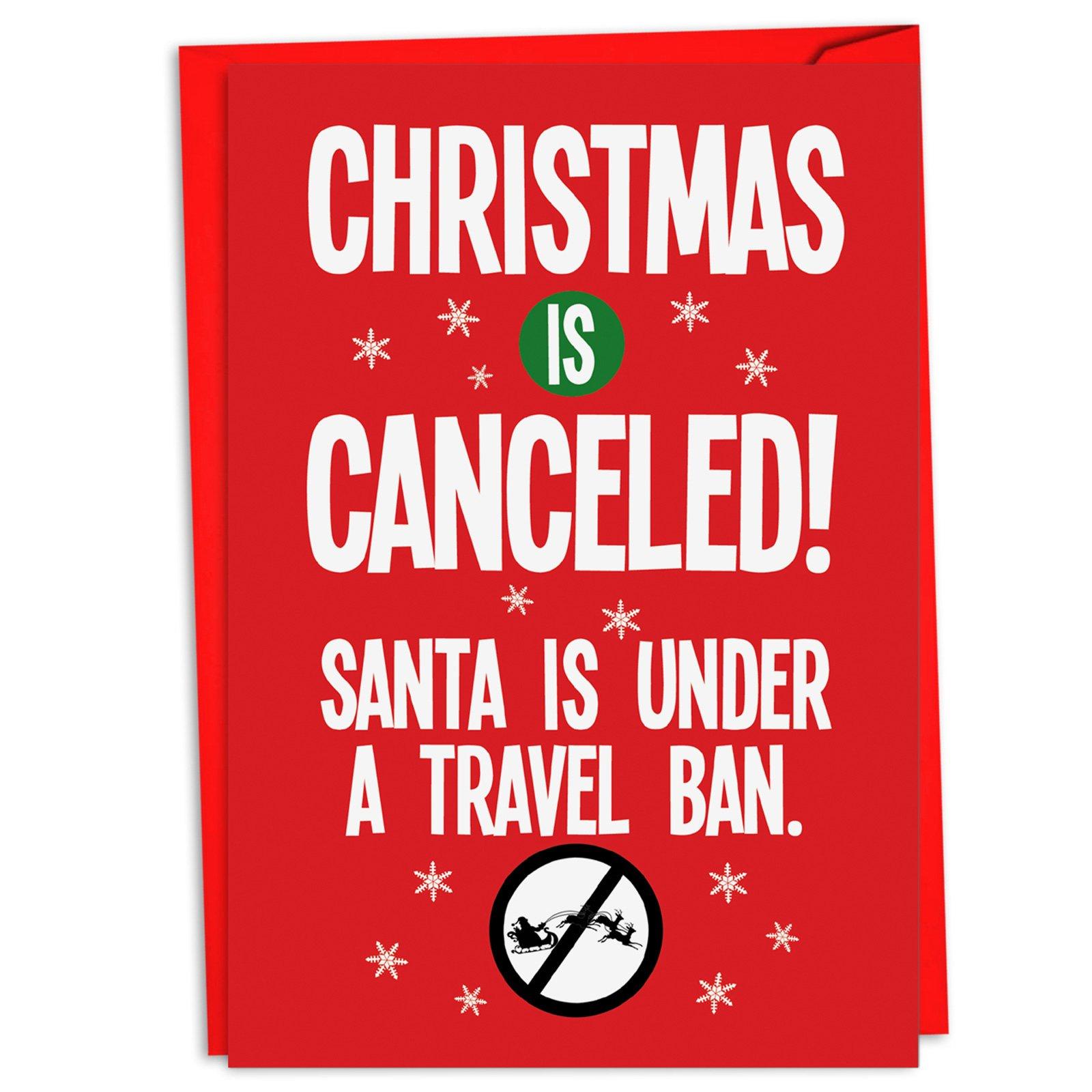 C4280XSG-B12 Box Set of 12 Santa Travel Ban Merry Christmas Greeting Cards; with Envelopes