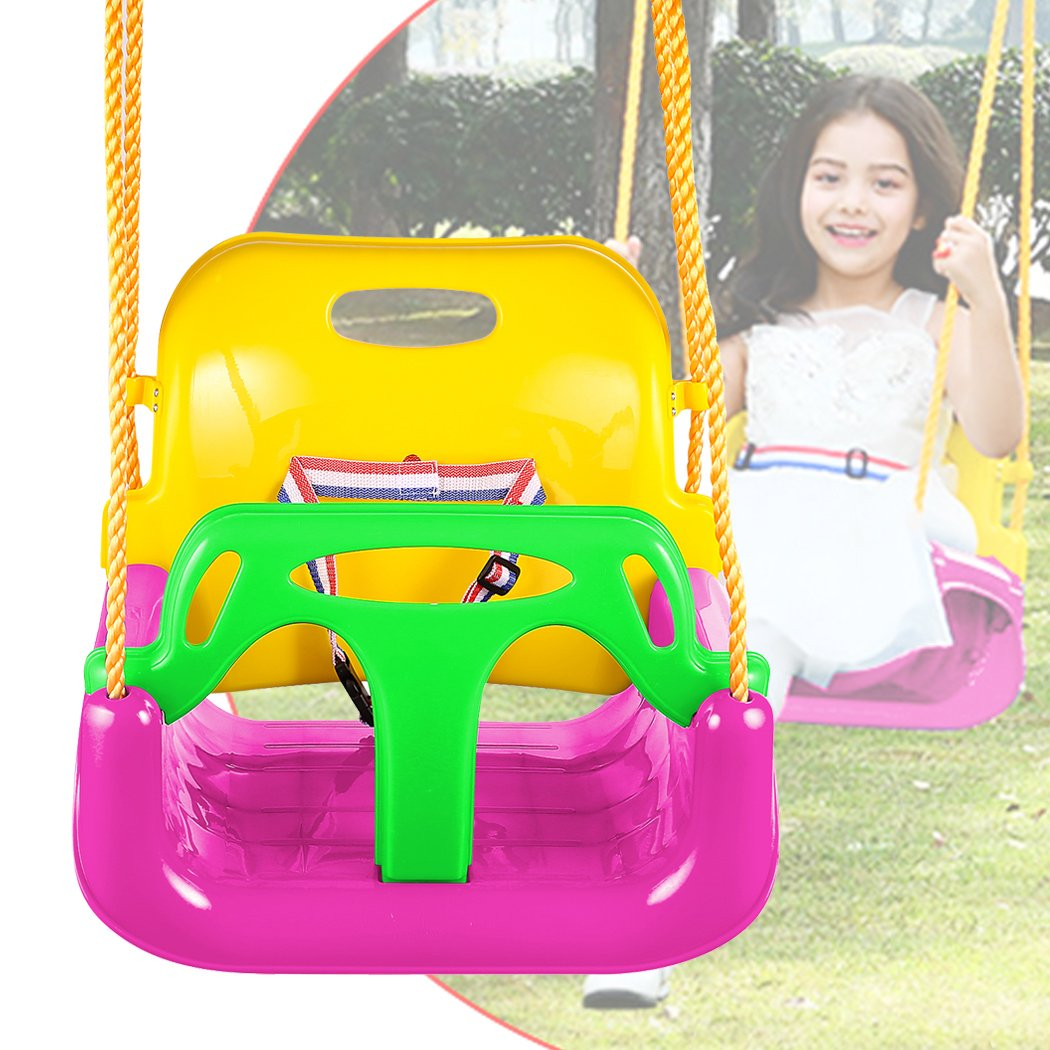 3-in-1 Secure Swing Seats High Back Infant Toddler Children Playground Swing Set Accessories Replacement with Hooks (Green) Miageek