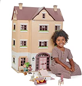 Tender Leaf Toys Fantail Hall – Giant Four Story Wooden Doll House – Magnificent Multi Level Playhouse – Develops Role Play and Imaginative Skills – Ages 3+ Years