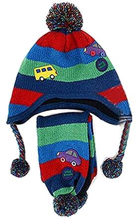 Freedi 2 Pcsset Kids Baby Girl Boy Car Pattern Knitted Wool Hat
