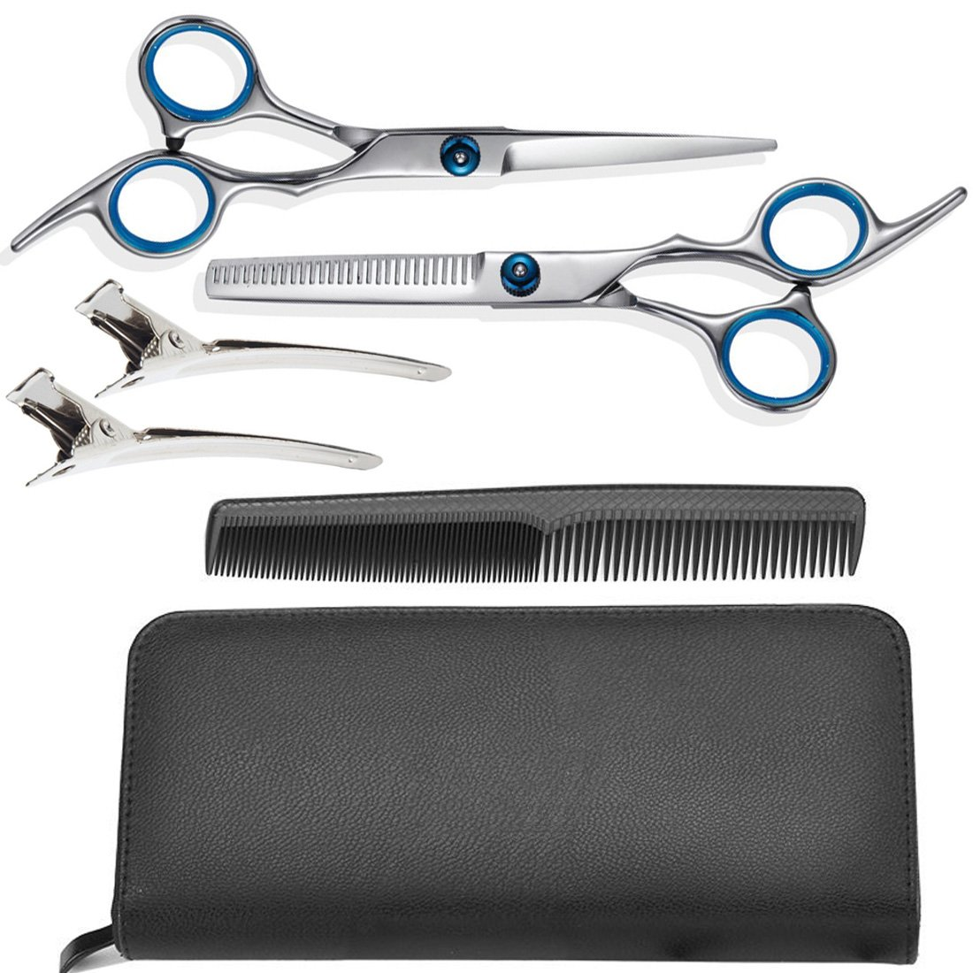 Hair Scissors Set, Professional Stainless Steel Barber Hair Cutting Shears, Razor Edge Scissors with Adjustment Screw, Thinning Texturizing Scissors with Clips, Cleaning Cloth, Comb, Leather Case