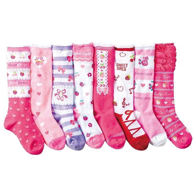 Calcetines hasta la rodilla para niña Corazón Calcetines con suela de algodón 8 pares de calcetines