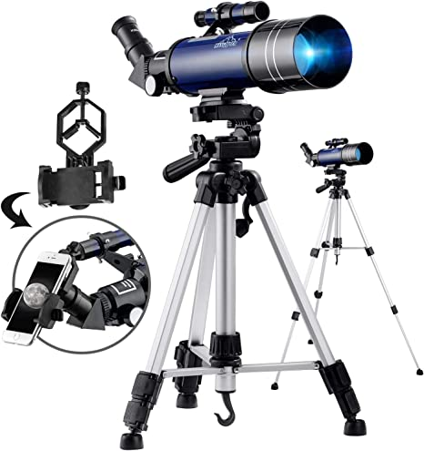 MAXLAPTER Telescopio para niños y principiantes, telescopio de 70 mm para astronomía con trípode ajustable, adaptador para smartphone, control de cable para cámara obturadora, mochila: Amazon.es: Electrónica