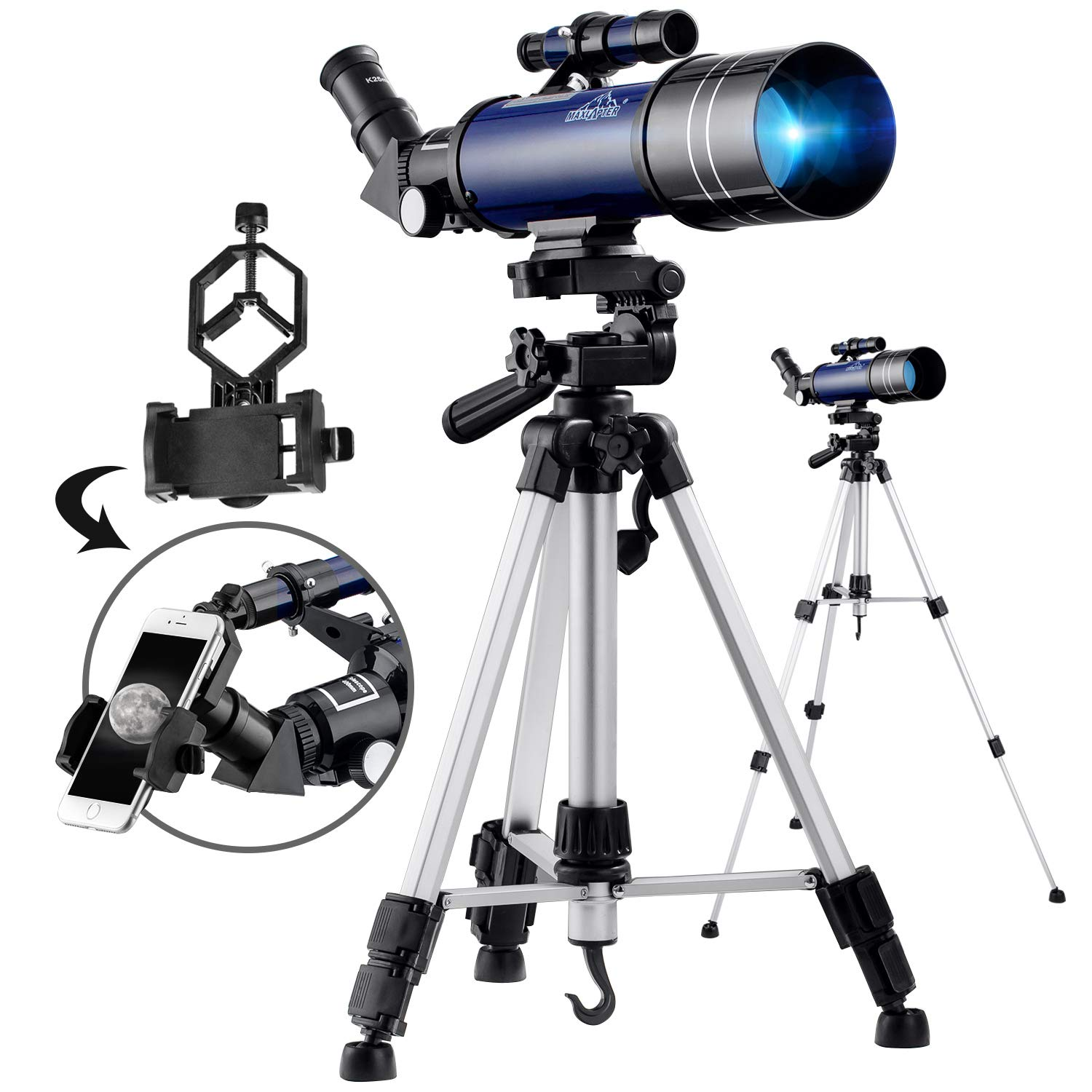 MAXLAPTER Telescope for Kids Beginners, Fully Coated Glass Optics 70mm Astronomical Refractor Travel Scope with Adjustable Tripod, Finder Scope and Smartphone Adapter by MAXLAPTER