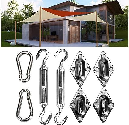 Amazon com: 8pcs Stainless Steel Sun Sail Shade Canopy