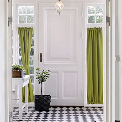 Blackout French Door Curtain   Aquazolax Blackout Drapes Curtains  25u0026quot;x72u0026quot; Decorative Door/