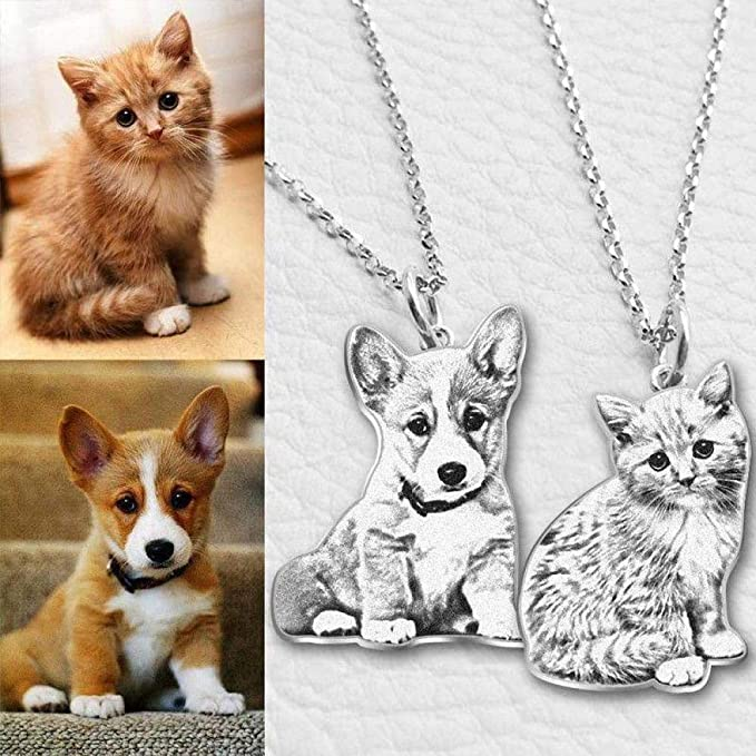 Golory Silhouette Customized Pendant Personalized Dog Cat Gift