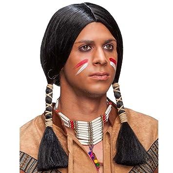 Amakando Postizo Carnaval Apache Peluca de Indio Negro Cabellera Hombre Indio Accesorio Disfraz India Pelo postizo