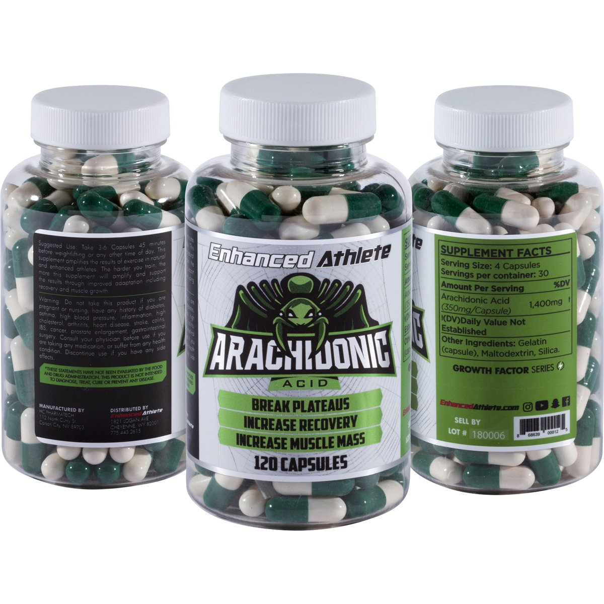 Enhanced Athlete Arachidonic Acid - Muscle and Strength Booster - Preserve Muscle and Boost Protein Synthesis - 350mg x 120 Capsules by ENHANCEDATHLETE .COM