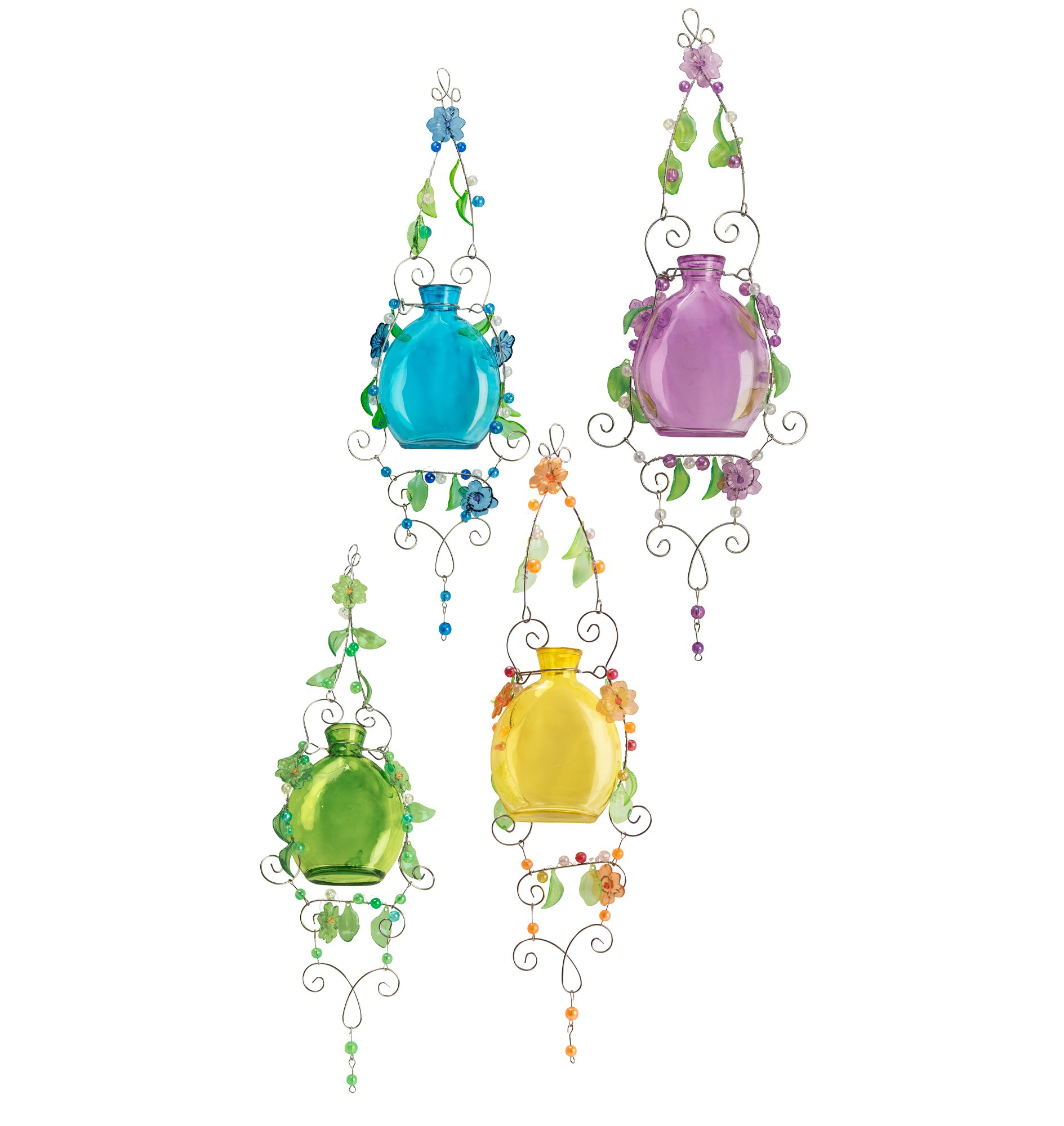 The Paragon Hanging Plant Rooters Set of 4 Pastel Glass & Metal Vase Planters