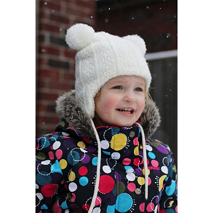 2bd36af12f9 Amazon.com  Baby Toddler Fleece Lined Winter Earflap Beanie Cream Bear Hat