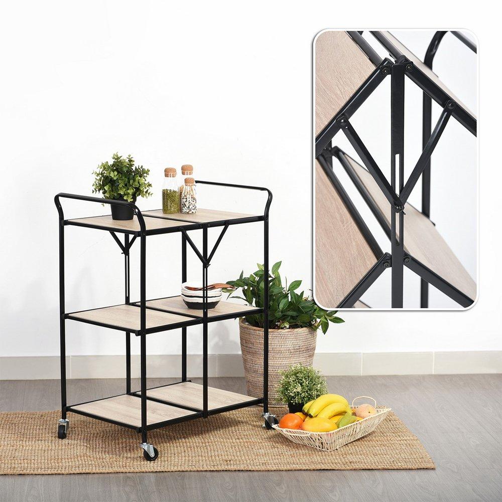 Fanilife Serving Cart Rolling Storage Dining Cart 3 Tier Mobile Metal Kitchen Trolley Cart Storage Units Kitchen Garden Hotel Black