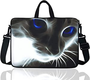 """YIDA 17.3-Inch Laptop Shoulder Sleeve Bag Case with Handle for 17 17.3"""" Acer Dell Hp (Grey Cat with Blue Eye)"""