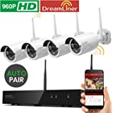 [Dream Liner 8CH Expandable] xmartO WOS1384 8 Channel 960p HD Wireless Security Camera System with 4 HD Outdoor Wireless IP Cameras (Auto-Pair, Built-in Router, 1.3MP Camera, No HDD)