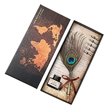Peacock Feather Dip Pen Packed Corporate Business Gifts