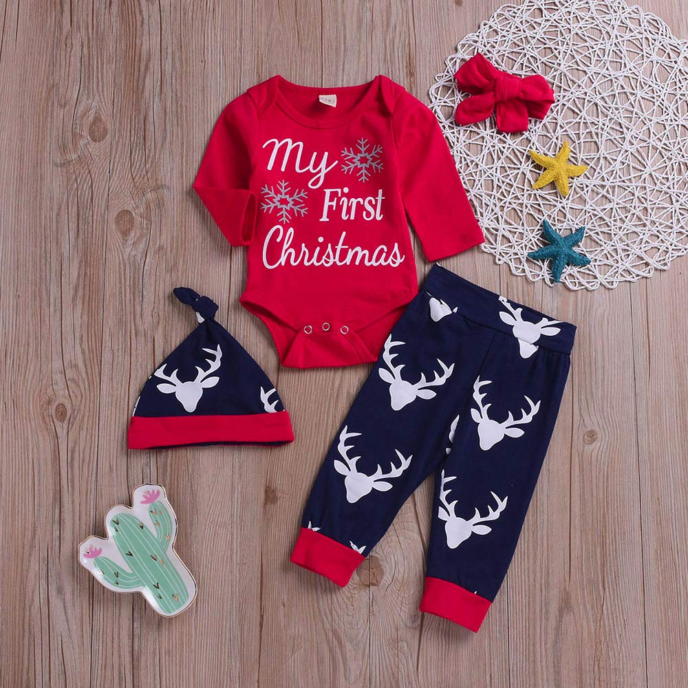 ☽Vovotrade☾ Baby Christmas Pants 4 pezzi Set 6-24M 4PCS Natale Newborn Baby Boy Elk Cartoon pantaloni Stampa Set di vestiti