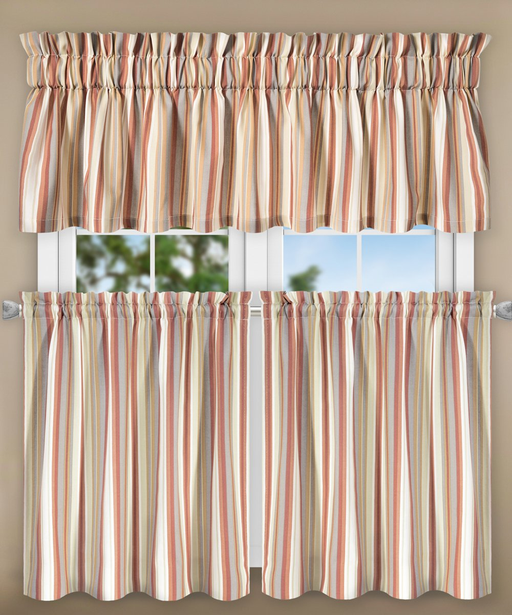 "Ellis Curtain Mason Multi Colored Stripe Tailored Valance, 80 x 15"", Clay"