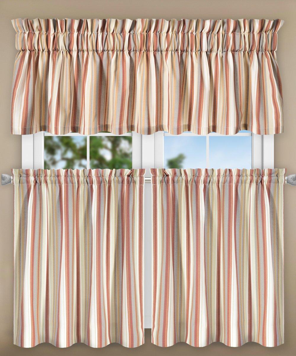 "Ellis Curtain Mason Multi Colored Stripe Tailored Valance, 80 x 15"", Clay"