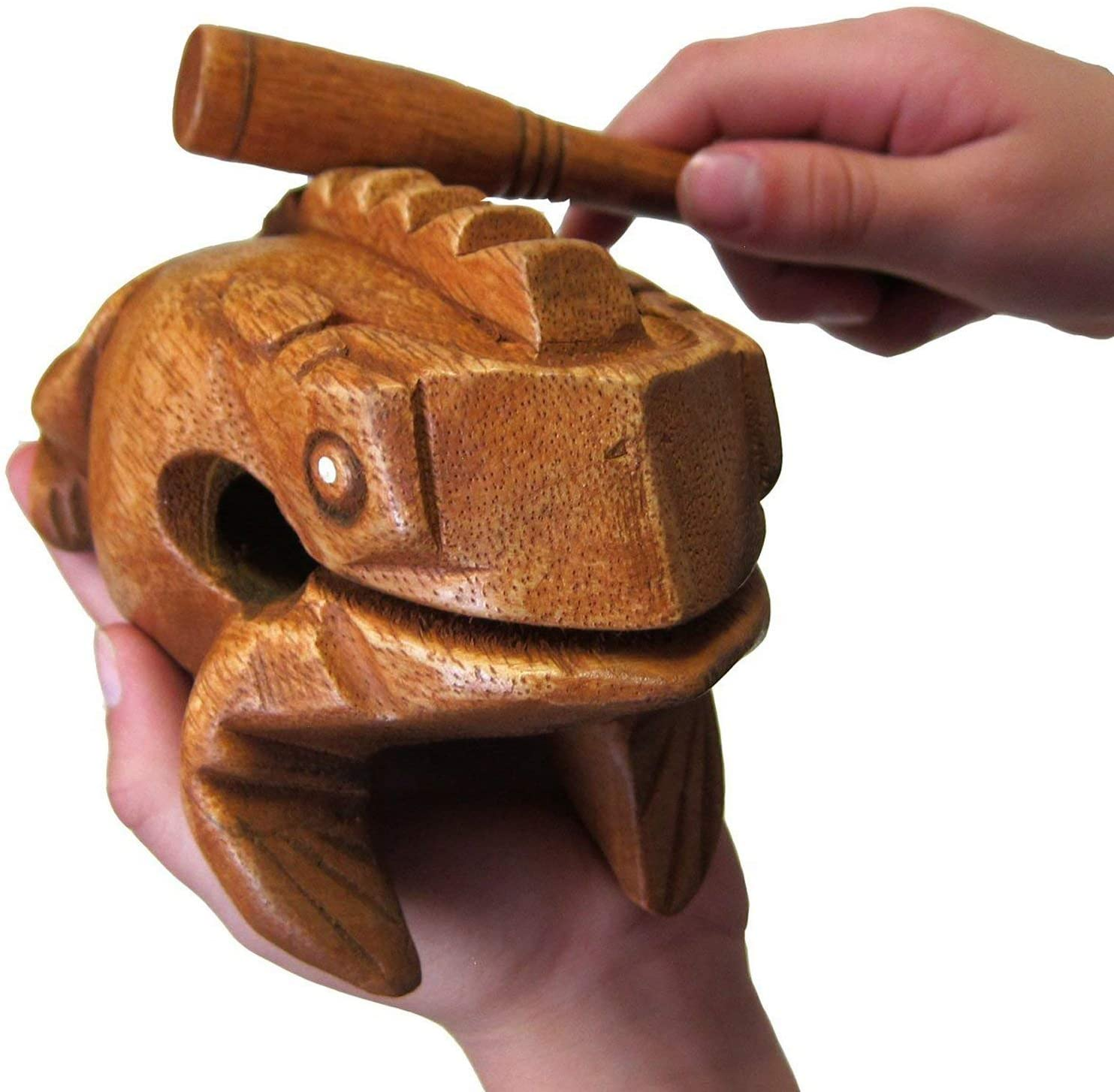 """Deluxe Large 6"""" Wood Frog Guiro Rasp - Musical Instrument Tone Block - by World Percussion USA"""