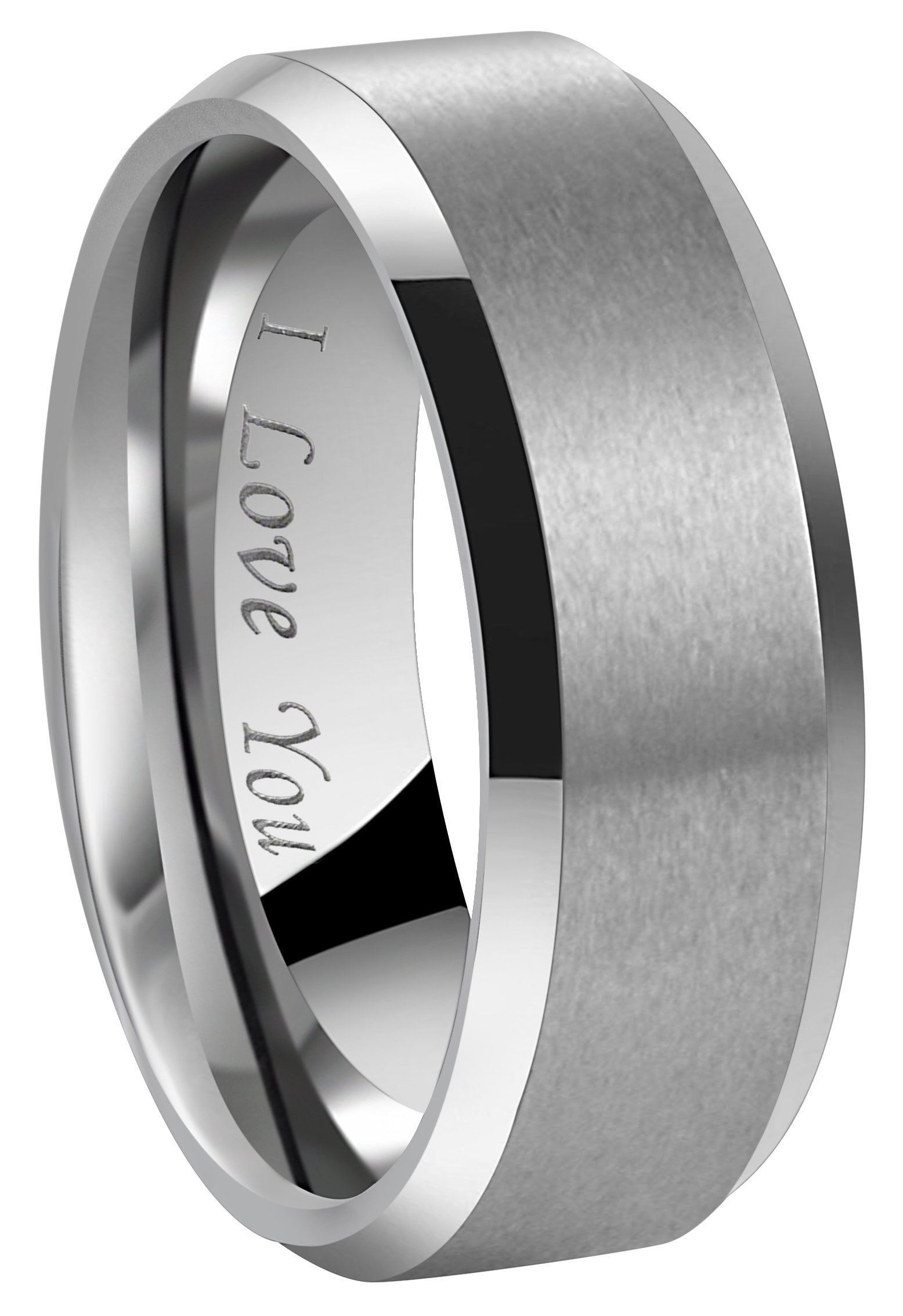 4mm 6mm 8mm Tungsten Wedding Couple Bands Rings Men Women Matte Brushed Finish Center Engraved ''I Love You'' Size 4 To 17 (8mm,14.5)
