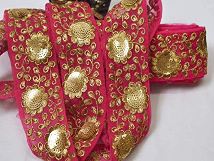 2 Wholesale Magenta Sari Embroidered Trim Saree Border Ribbon Fabric Trim Embellishments Indian Trim By 9 Yard Sewing Costume Crafting Lace