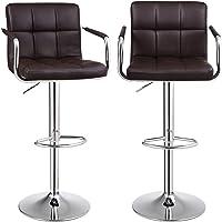 SONGMICS Barhocker 2er Set, höhenverstellbare Barstühle, 360° Drehstuhl, Küchenstühle mit Armlehnen, Rückenlehne und Fußstütze, verchromter Stahl